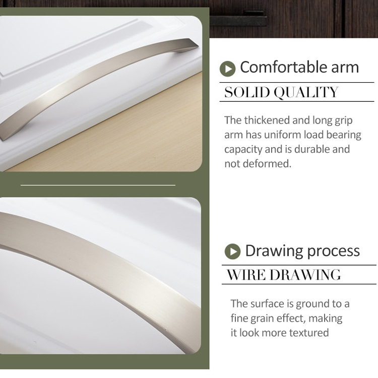 3 PCS Oukali 3013-224 Wire Drawing Modern Cabinet Alloy Drawer Door Handle