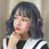 Air Bangs Age Reduction Short Curls Hair Wig Headgear for Women (Gray Blue)