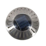 LED Stainless Steel Solar Powered Embedded Ground Lamp IP65 Waterproof Outdoor Garden Lawn Lamp (Colorful Light)