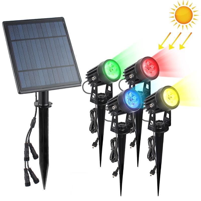 A108 4 PCS RGB LED Solar Power Lamp, TS4205 4 PCS Outdoor Garden Landscape Path Decorative Diamond Lights (Colorful Light)