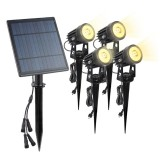 A108 4 PCS RGB LED Solar Power Lamp, TS4205 4 PCS Outdoor Garden Landscape Path Decorative Diamond Lights (Warm White)