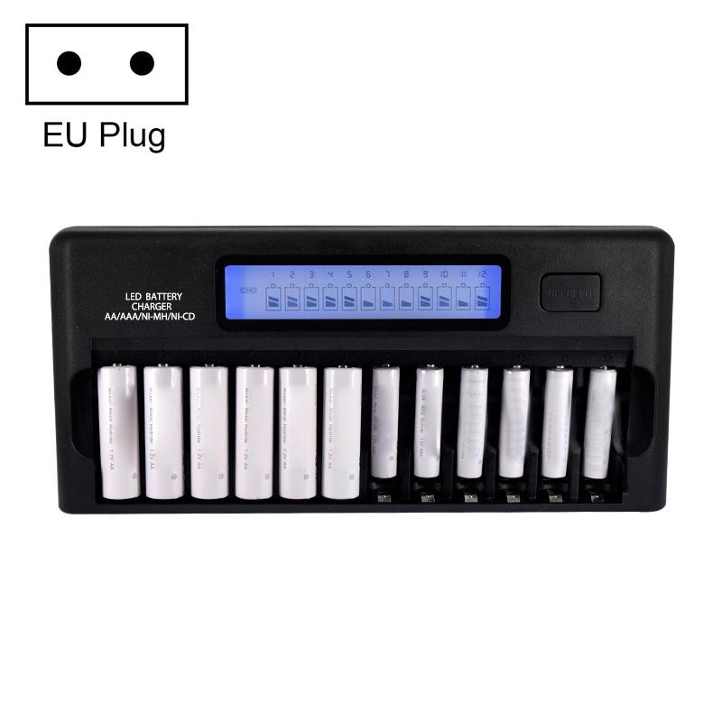 100-240V 12 Slot Battery Charger for AA / AAA / NI-MH / NI-CD Battery, with LCD Display, EU Plug