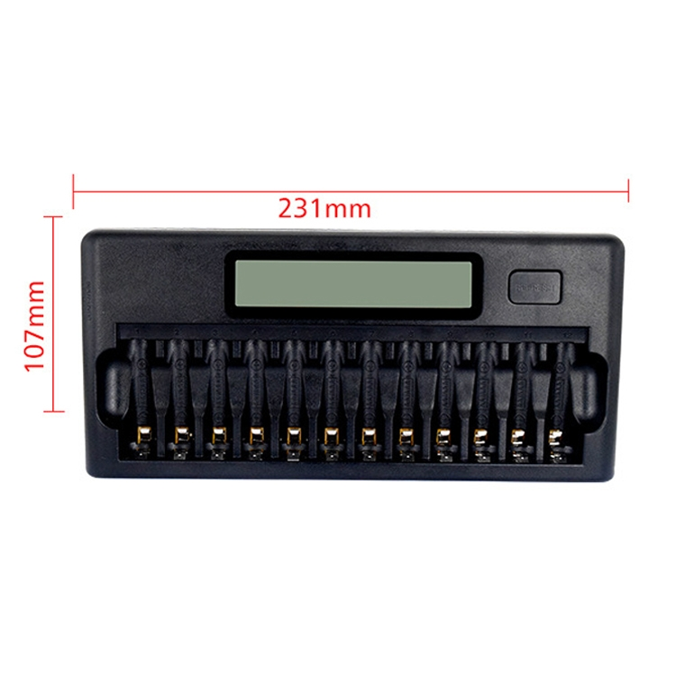 100-240V 12 Slot Battery Charger for AA / AAA / NI-MH / NI-CD Battery, with LCD Display, EU Plug
