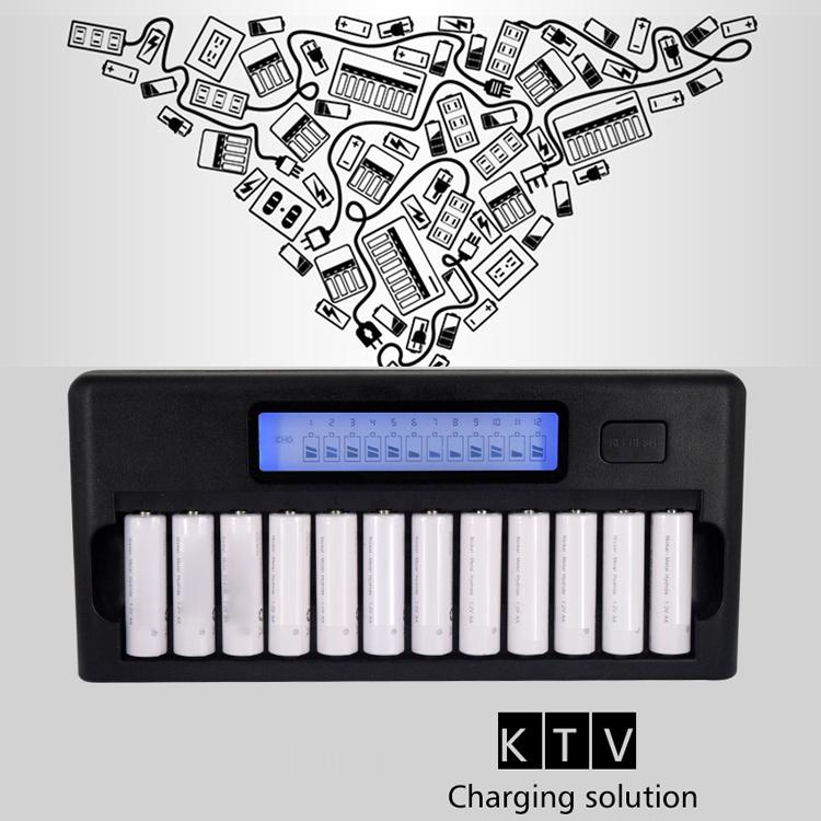 100-240V 12 Slot Battery Charger for AA / AAA / NI-MH / NI-CD Battery, with LCD Display, US Plug