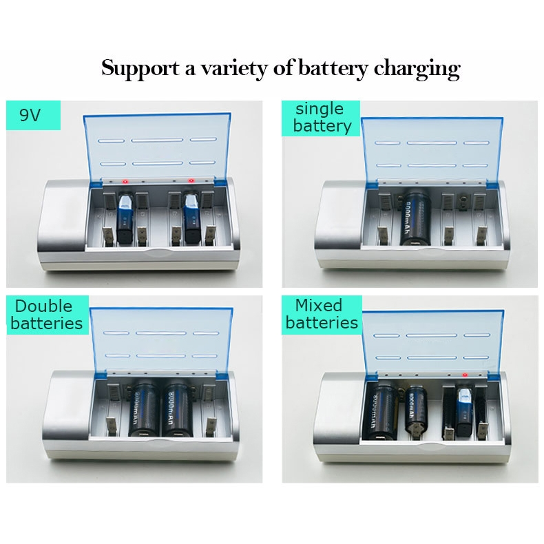 AC 100-240V 4 Slot Battery Charger for AA & AAA & C / D Size Battery, EU Plug