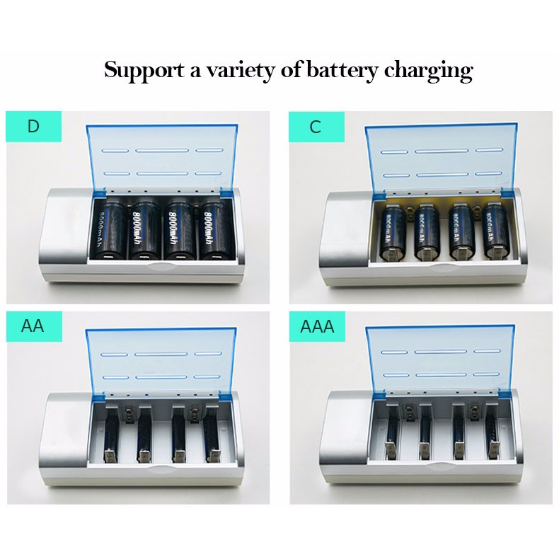 AC 100-240V 4 Slot Battery Charger for AA & AAA & C / D Size Battery, UK Plug