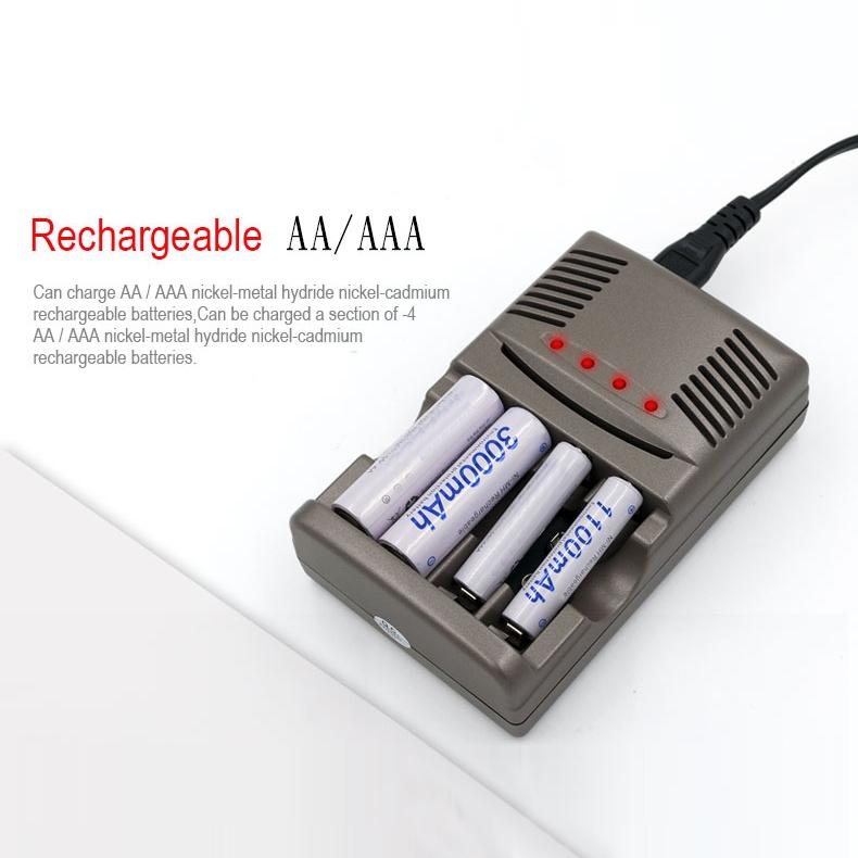AC 100-240V 4 Slot Battery Charger for AA & AAA & 9V Ni-MH Battery, EU Plug
