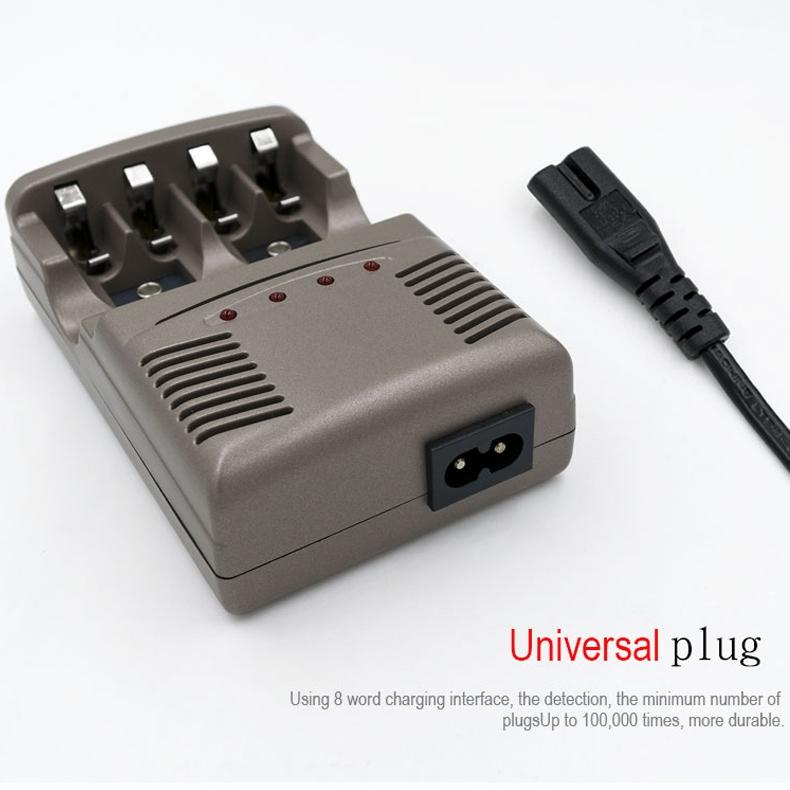 AC 100-240V 4 Slot Battery Charger for AA & AAA & 9V Ni-MH Battery, UK Plug