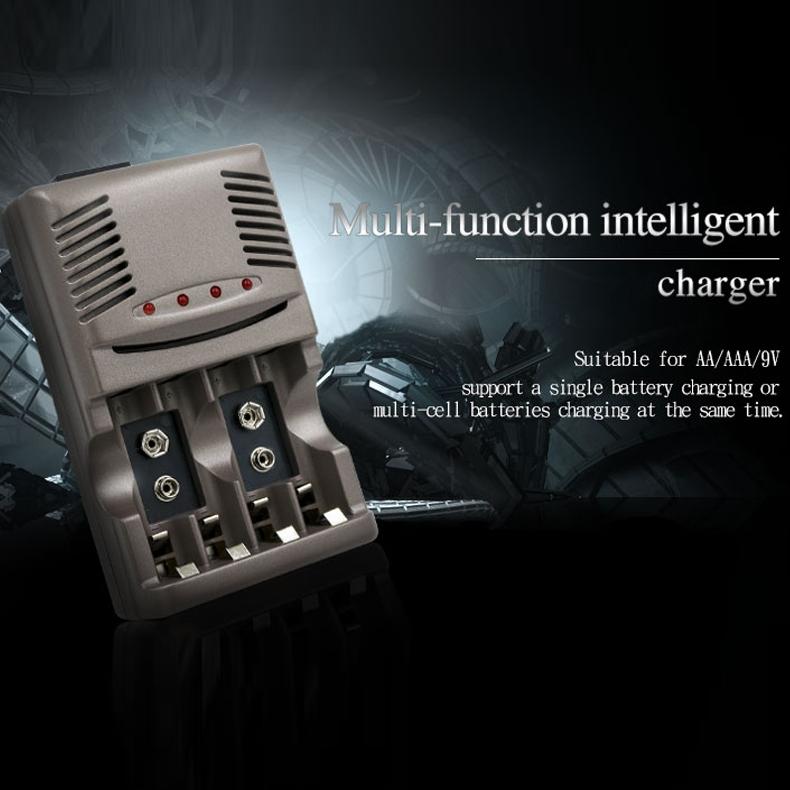 DC 100-240V 4 Slot Battery Charger for AA & AAA & 9V Ni-MH Battery, US Plug