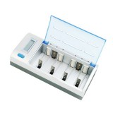 AC 100-240V 4 Slot Battery Charger for AA & AAA & C / D Size Battery, with LCD Display, EU Plug