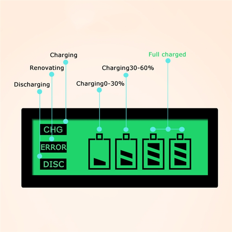 AC 100-240V 4 Slot Battery Charger for AA & AAA & C / D Size Battery, with LCD Display, UK Plug
