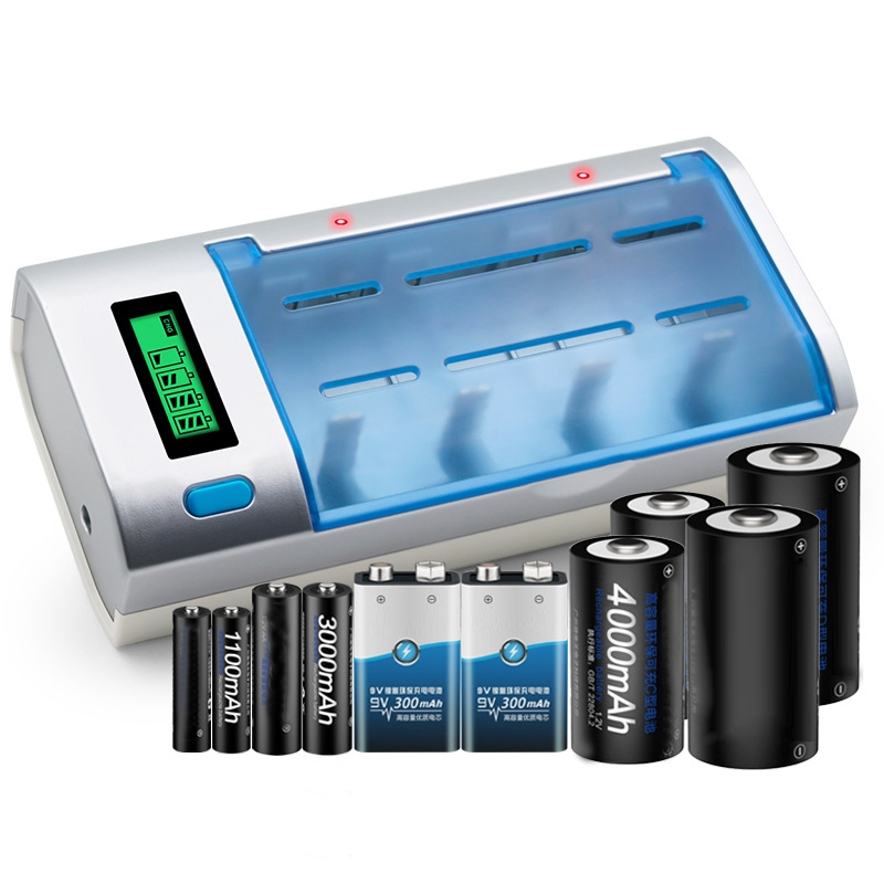 AC 100-240V 4 Slot Battery Charger for AA & AAA & C / D Size Battery, with LCD Display, US Plug