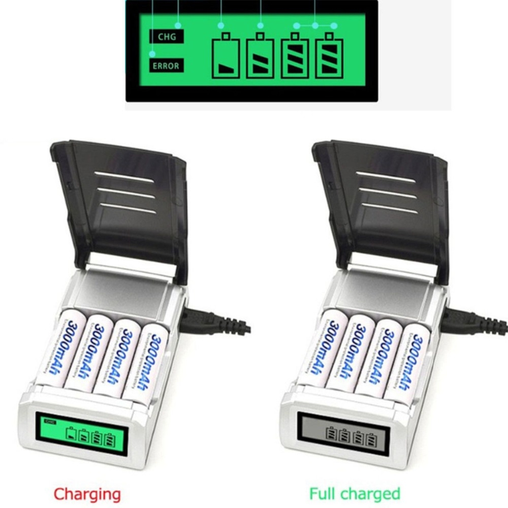 AC 100-240V 4 Slot Battery Charger for AA & AAA Battery, with LCD Display, EU Plug