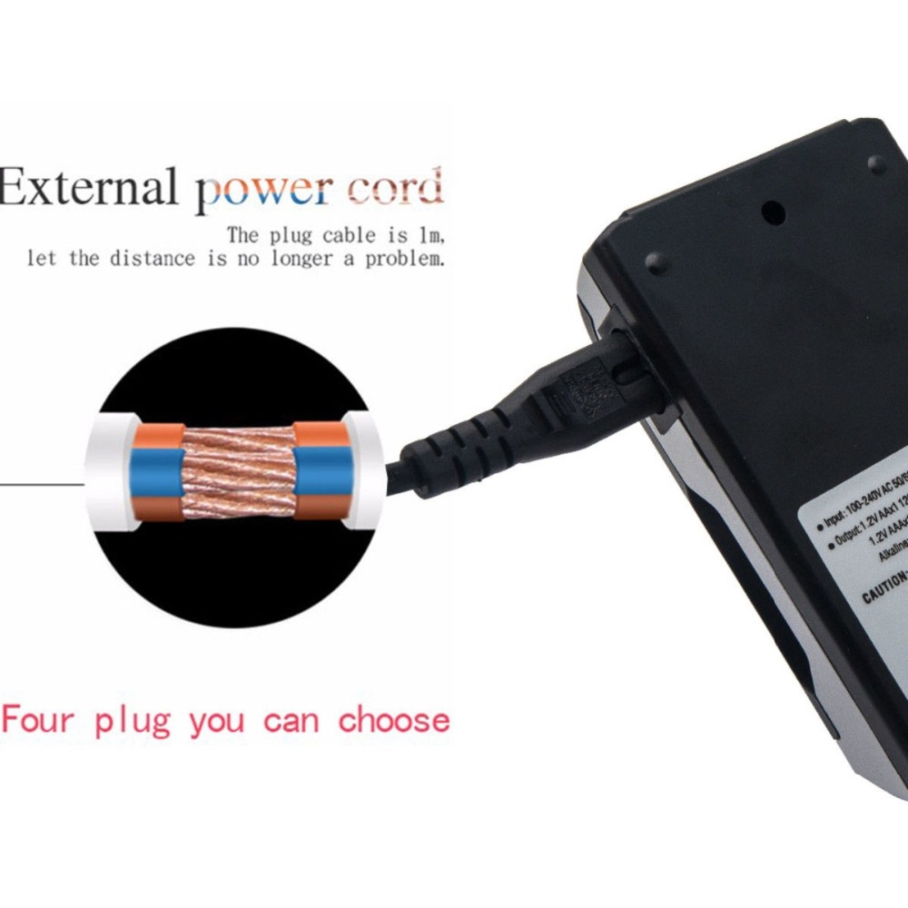 AC 100-240V 4 Slot Battery Charger for AA & AAA Battery, with LCD Display, US Plug