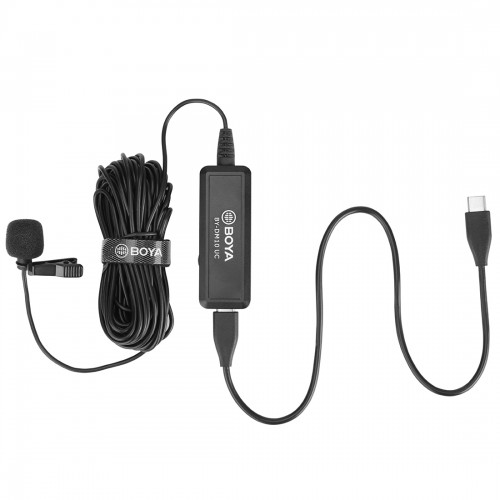 BOYA BY-DM10 UC USB-C / Type-C Plug Broadcast Lavalier Microphone with Windscreen, Cable Length: 6m (Black)