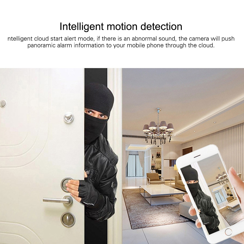 360 Degrees Wide-angle Panoramic WiFi Camera 960P Home Monitoring Camera without Memory