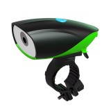 USB Charging Bike LED Riding Light, Charging 3 Hours with Horn (Green)