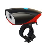 USB Charging Bike LED Riding Light, Charging 3 Hours with Horn (Red)