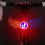 USB Charging Red Blue Color Riding Light Rear Lamp Safety Warning Light (Music Sign Style)
