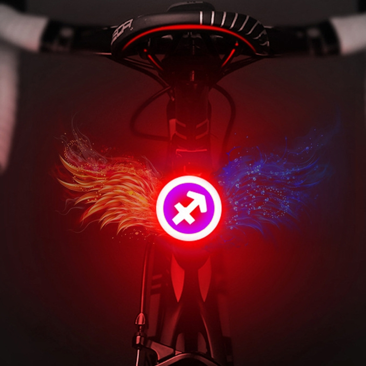 USB Charging Red Blue Color Riding Light Rear Lamp Safety Warning Light (Sagittarius Style)