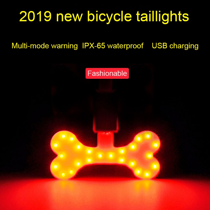 USB Charging Red Blue Color Riding Light Rear Lamp Safety Warning Light (Pentagram Style)