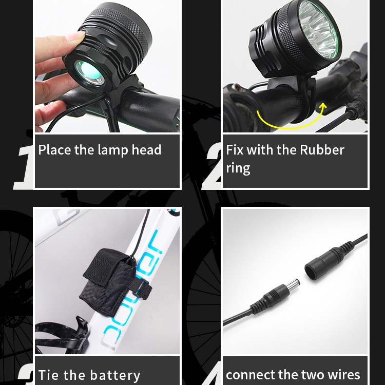 Mountain Bike Light Headlights T6 Glaring Flashlight Waterproof Shockproof Night Riding Equipment (Blue)