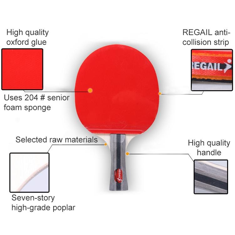 REGAIL 8020 2 in 1 Short Handle Penhold Ping Pong Racket + Ping Pong Ball Set for Training