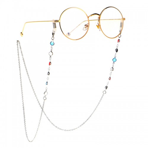 Star Style Stained Glass Presbyopic Myopic Eyeglasses Chain (Silver)