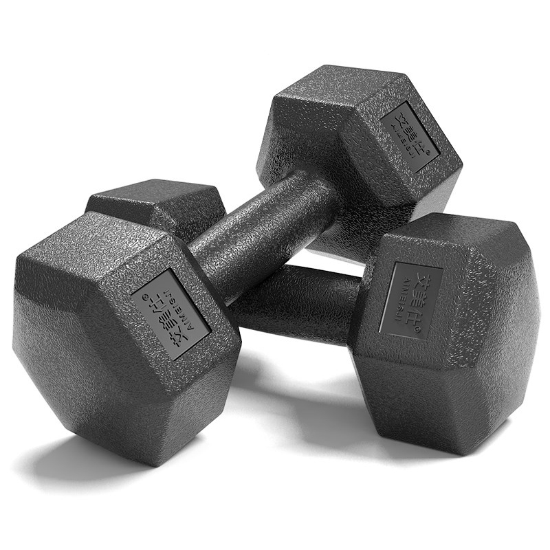 10KG A Pair Household Glue Fitness Hexagon Dumbbells