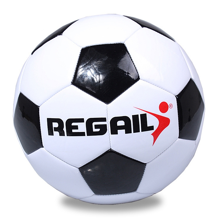 REGAIL No. 4 Explosion-proof Machine-stitched Football for Teenagers Training (Black)