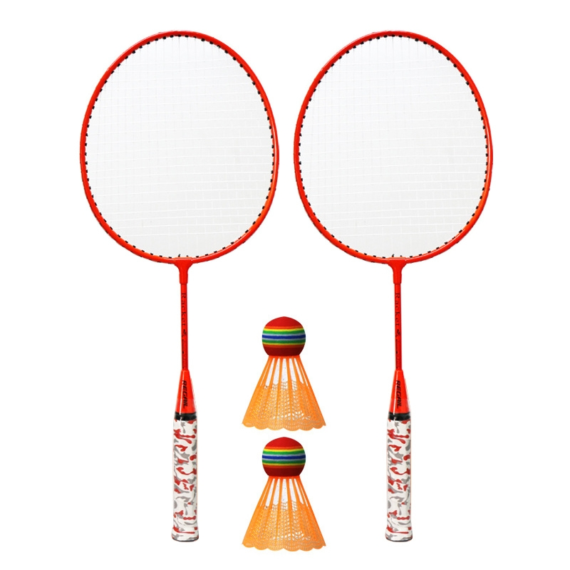 REGAIL H6508 Badminton Racket + Racket Cover + Rainbow Badminton Set for Children (Orange)