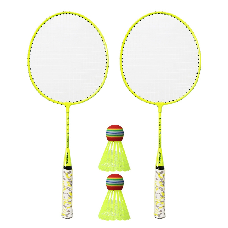 REGAIL H6508 Badminton Racket + Racket Cover + Rainbow Badminton Set for Children (Yellow)