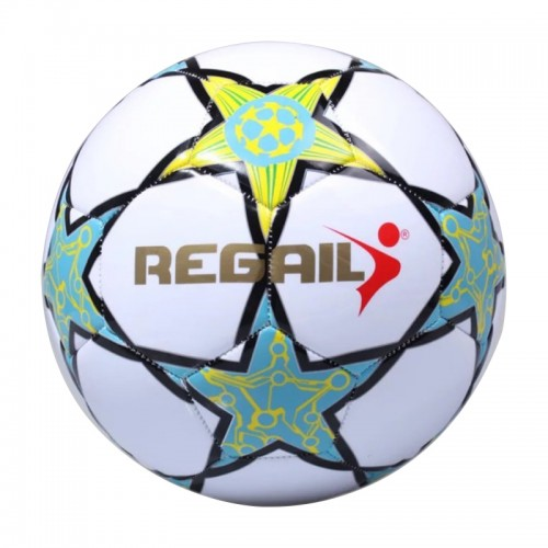 REGAIL No.5 PU Leather Machine Stitched Football for Teenagers Training (Green)