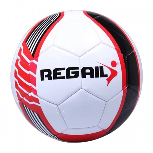 REGAIL No.5 PU Leather Machine Stitched Football for Teenagers Training (Red)