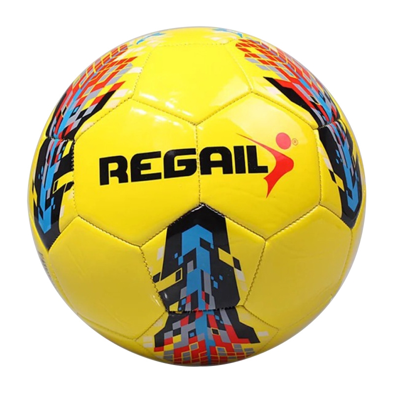 REGAIL No.5 PU Leather Machine Stitched Football for Teenagers Training (Yellow)