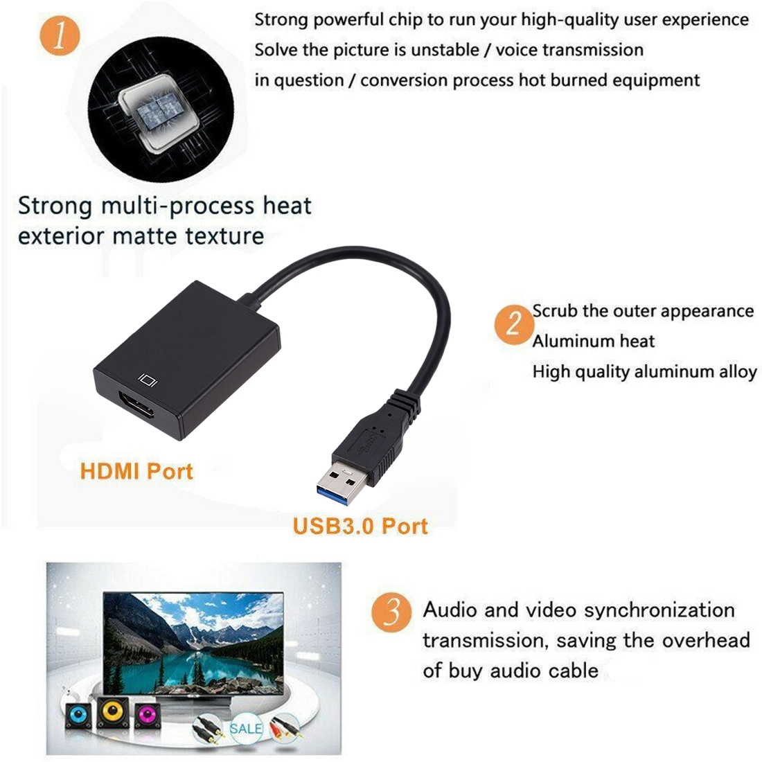 External Graphics Card Converter Cable USB3.0 to HDMI (Black)