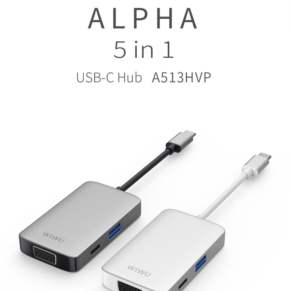 WIWU A513HVP 5 In 1 Type-C / USB-C Multifunctional Extension HUB Adapter