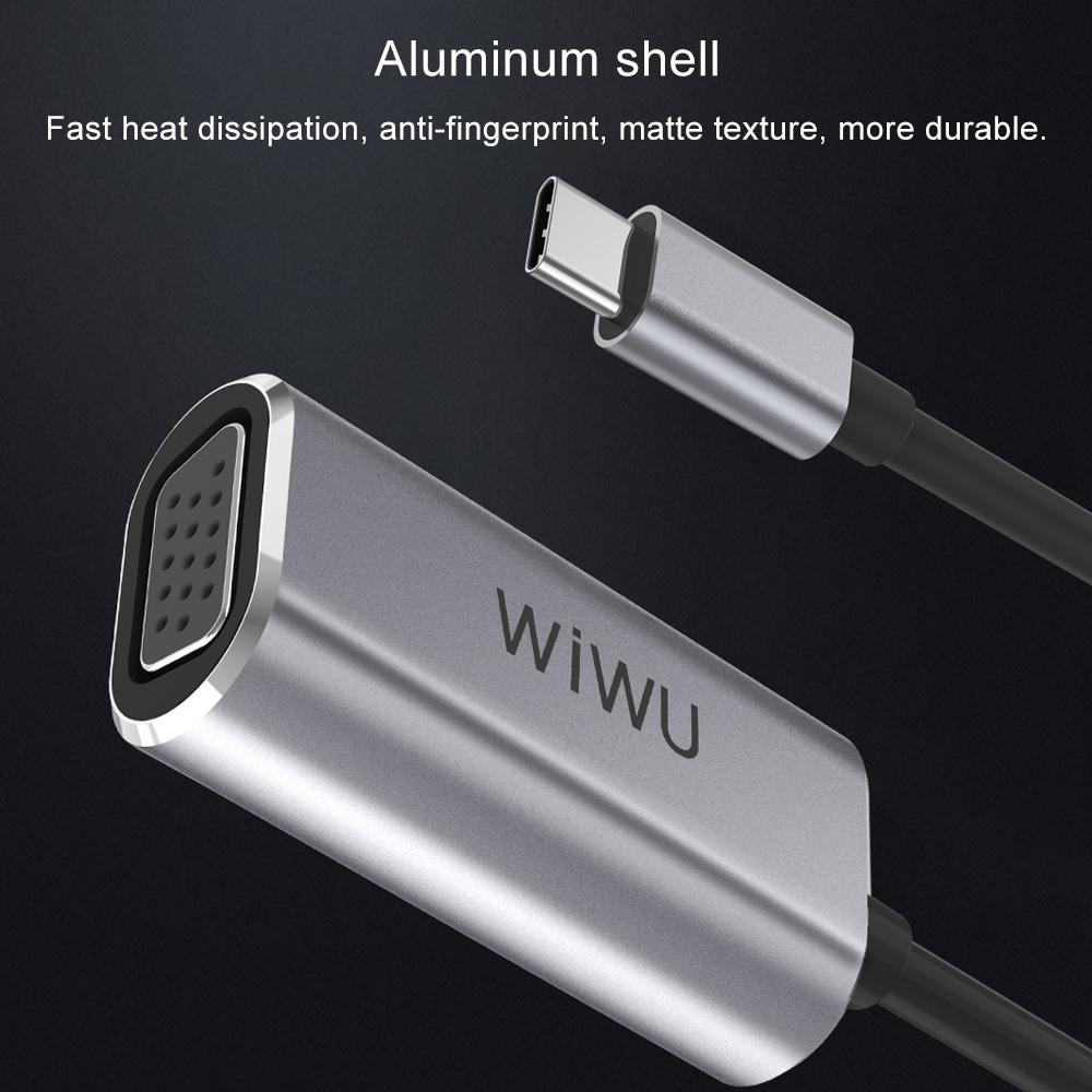 WIWU Alpha USB-C/Type-C to VGA Hub, Length:110mm