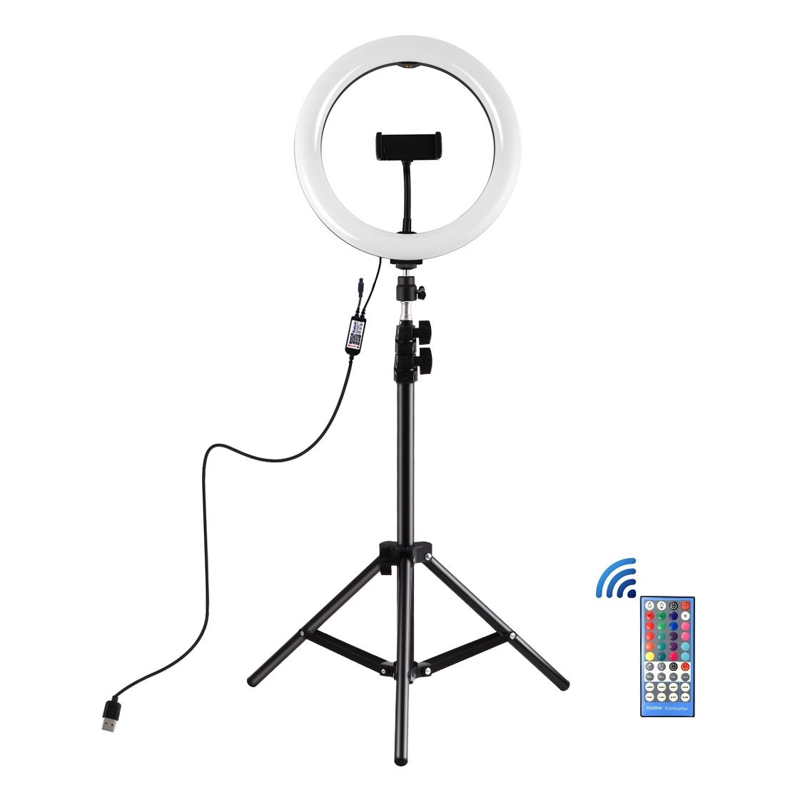 10.2 inch RGBW LED Ring Vlogging Video Light Kits with Remote Control /& Cold Shoe Tripod Ball Head/for YouTube Video vlogging Live Broadcast Dual Phone Bracket PULUZ 140cm Round Base Desktop Mount