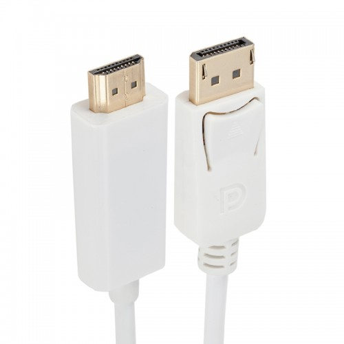 DisplayPort Male to HDMI Male Adapter Cable, Length: 1.8m (White)
