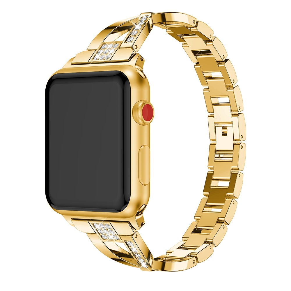 For Fitbit Versa / Fitbit Versa 2 / Fitbit Versa Lite Edition Universal X-shaped Metal Strap (Gold)