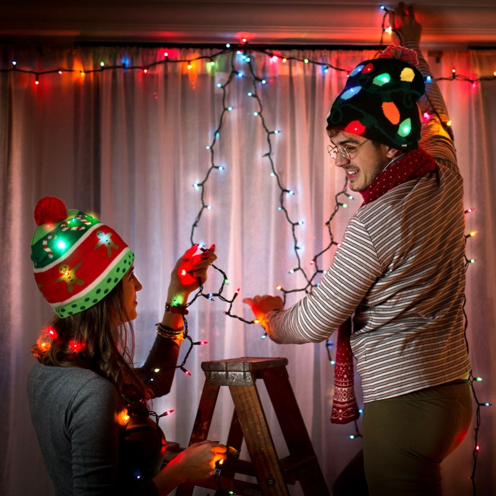 Christmas Decoration Adult Children Knit Hat with LED Light Hat (Christmas Tree)