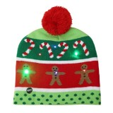 Christmas Decoration Adult Children Knit Hat with LED Light Hat (Gingerbread Man)