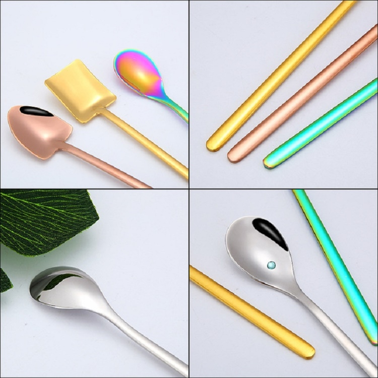 2 PCS Stainless Steel Spoon Creative Coffee Spoon Bar Ice Spoon Gold Plated Long Stirring Spoon, Style: Round Spoon, Color: Silver