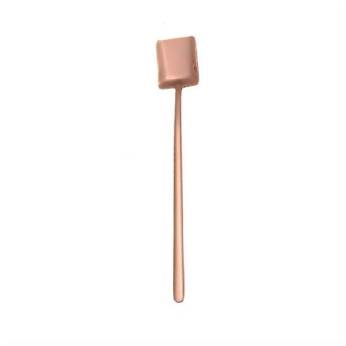 2 PCS Stainless Steel Spoon Creative Coffee Spoon Bar Ice Spoon Gold Plated Long Stirring Spoon, Style: Square Spoon, Color: Rose Gold
