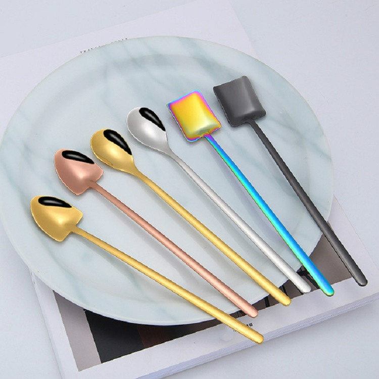 2 PCS Stainless Steel Spoon Creative Coffee Spoon Bar Ice Spoon Gold Plated Long Stirring Spoon, Style: Square Spoon, Color: Colorful