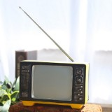 Vintage Radio TV Set Home Decoration Retro Craft Decoration, Style: TV Yellow