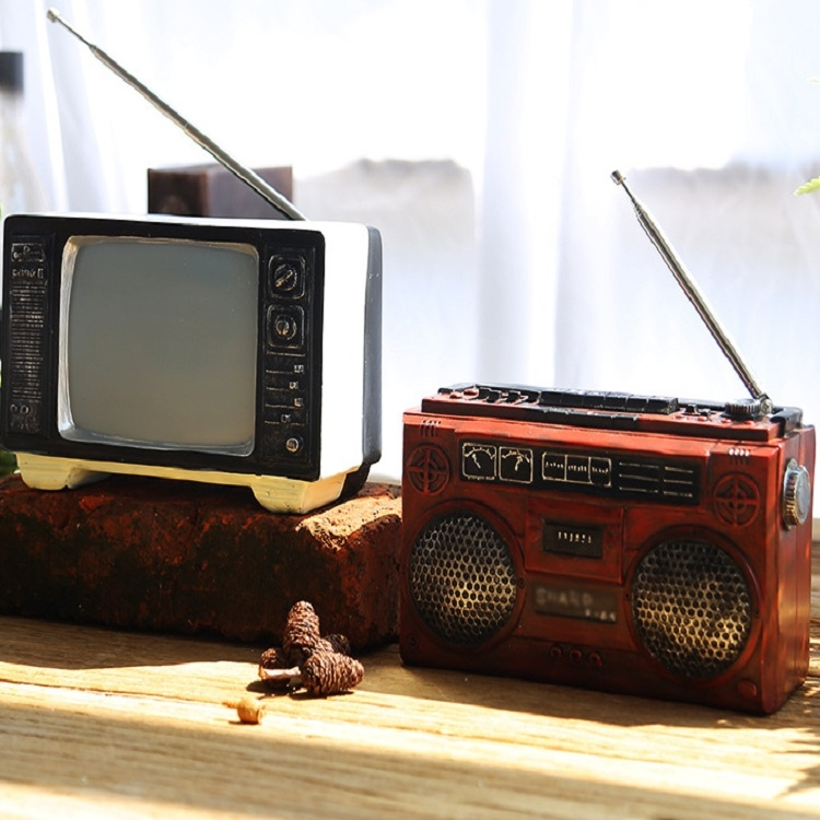 Vintage Radio TV Set Home Decoration Retro Craft Decoration, Style: Radio Brown