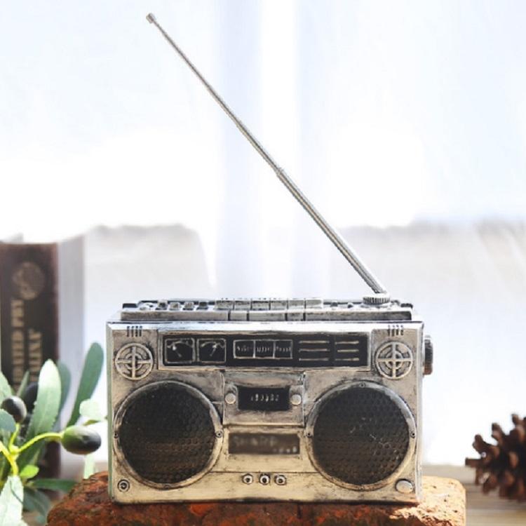 Vintage Radio TV Set Home Decoration Retro Craft Decoration, Style: Radio Silver