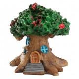 Micro Landscape Flower Pot Decoration Fleshy Cartoon Construction Toy Big Tree House Resin Decoration (Green)